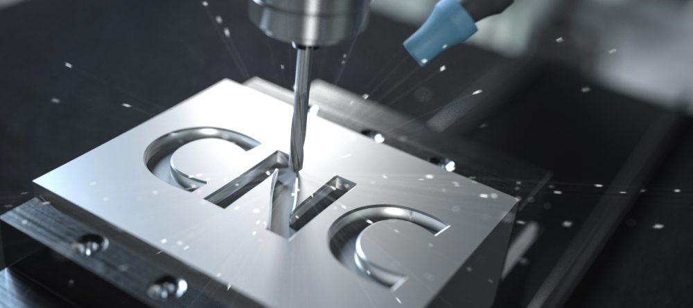 CNC milling of the letters cnc